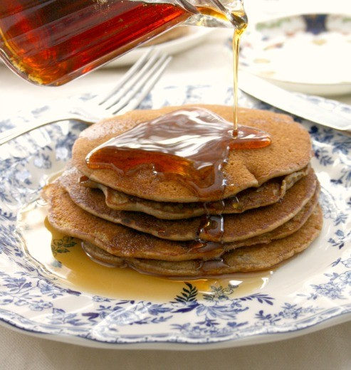 Buckwheat Flapjacks with Molasses Maple Syrup