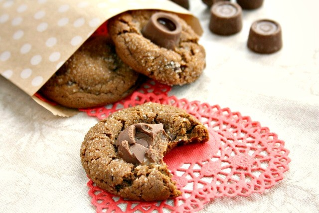 Caramel-Stuffed Chocolate Molasses Crinkle Cookies