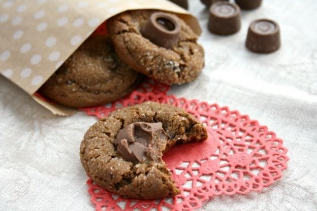Caramel-Stuffed Chocolate Molasses Crinkle Cookies