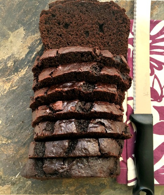 Dark chocolate banana bread is mildly sweet with a very fine crumb and subtle banana flavour. Extra chocolaty with a whole cup of cocoa powder and half a cup of dark chocolate chips.