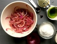 Quick pickled onions are mellow and tart with the fresh taste of lime juice and just a hint of savoury sweet from molasses.