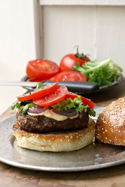 The Mo Burger, a simple flavourful burger that stays moist. Seasoned with salsa, Worcestershire sauce and molasses.