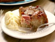 In this rhubarb upside down cake the rhubarb cooks almost into a compote and gets all the sweet that it needs from the molasses maple syrup mixture. The rhubarb is soft but still holds its shape so this cake is very pretty when you turn it out onto a plate.