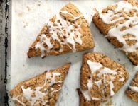 lemon poppy seed scones are sweetened with molasses and maple syrup. No refined sugar. Use whole wheat pastry flour to make them extra wholesome.