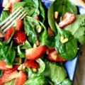 Strawberry spinach salad with molasses vinaigrette