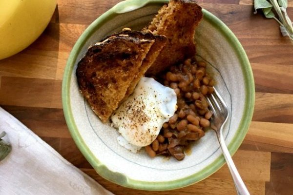 Apple Sage Baked Beans: A classic recipe for molasses baked beans seasoned with savoury sage and tart apples.