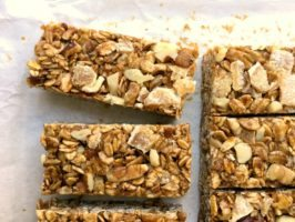 Double Ginger Granola bars: Generous on the candied ginger, this bar has a clean wholesome feel and the sort of texture that keeps you nibbling away until half the pan is gone. The oats in this recipe are toasted which gives the bars a wonderful, well toasty, flavour and deepens the colour of this no-bake treat.