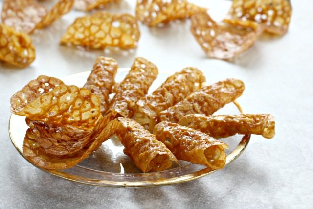 Easy Molasses Almond Tuiles - A golden festive cookie that's lacy and crisp.