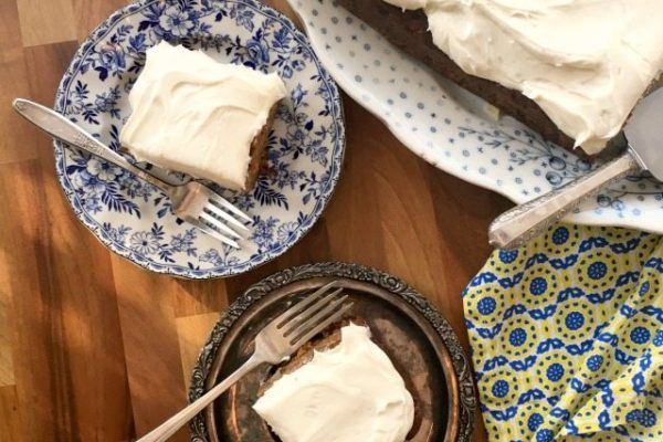 """Healthier Carrot Cake for a Crowd is a classic carrot cake recipe that's lower in fat than the original with less in sugar. Made in a 9""""x13"""" pan. Extra easy."""