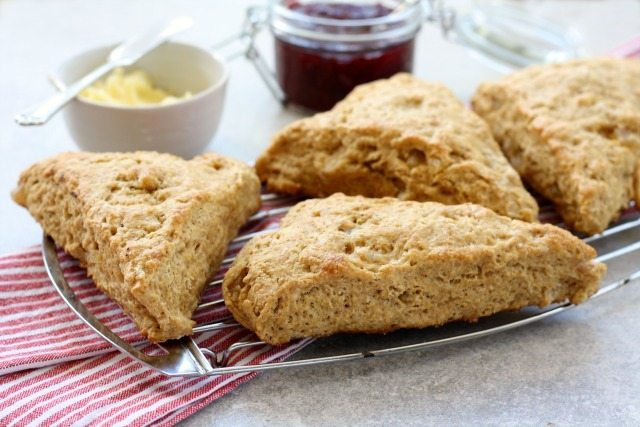 Lemon Ginger Scones: Flavoured with both powdered and candied ginger, and the zest of a lemon. Best enjoyed right out of the oven with a little butter and jam. Any leftovers can be toasted the next day.