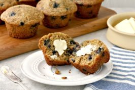 Whole Wheat Blueberry Muffins: wholesome, quick and taste great smeared with peanut butter.