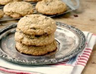 Thick and chewy oatmeal raisin cookies are wholesome and satisfying.