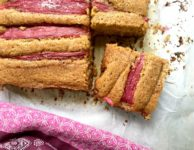 Roasted rhubarb cornbread is wholesome and delicious. Can be made with apples too. Low sugar.