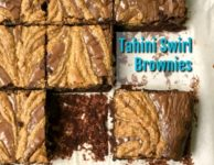 Gluten Free Chocolate Tahini Brownies Recipe: Fudgy brownies with a sweet tahini swirl.