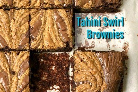 Gluten Free Chocolate Tahini Brownies Recipe: Fudgy brownies with a sweet tahini swirl.