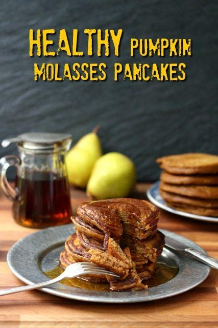 Healthy pumpkin molasses pancakes