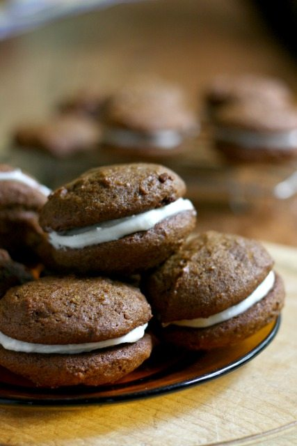 Pumpkin whoopie pies: The pumpkin molasses cookies have a great texture -- not too soft, and the filling is extra tasty. The spicing is lovely and the pumpkin flavour is jut right.
