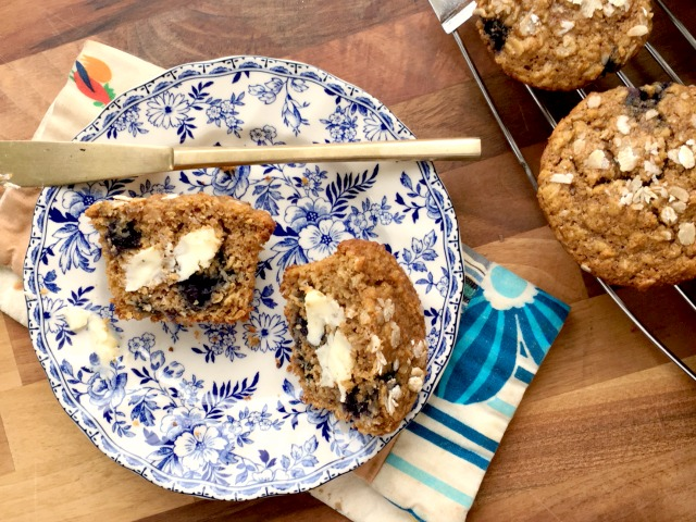 Blueberry Oatmeal Muffins are like a bowl of porridge for people on the go. Made with a combination of rolled oats and whole wheat flour they're wholesome, filling and are just the right kind of sweet for a healthy snack. Refined sugar free