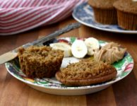 Bananas, applesauce and molasses help to keep these Gluten-Free Banana Flax Muffins moist and not crumbly. A satisfying alternative for a favourite muffin.