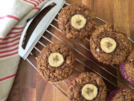 Wholesome banana bran muffins are refined sugar free