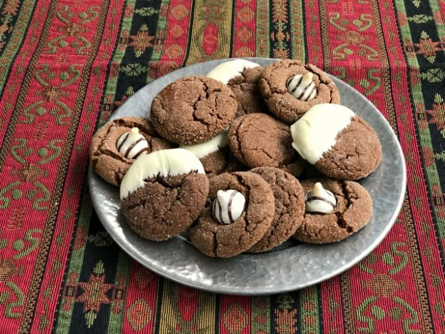 Chocolate gingerbread cookies - a chewy chocolate ginger molasses cookie that everyone loves. You can make three festive-looking holiday cookies using one easy batch of dough.