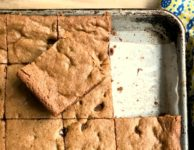 Big Batch Whole Wheat Chocolate Chip Cookie Bars with molasses, flax and olive oil