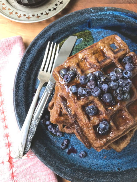 Molasses oatmeal waffles are like brown bread in waffle form. They're a little chewy, wholesome and substantial.