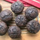 Whole wheat chocolate zucchini muffins are true muffins -- only 1/2 cup sugar on a one-dozen batch. They aren't too sweet and get an extra flavour kick from a little molasses.