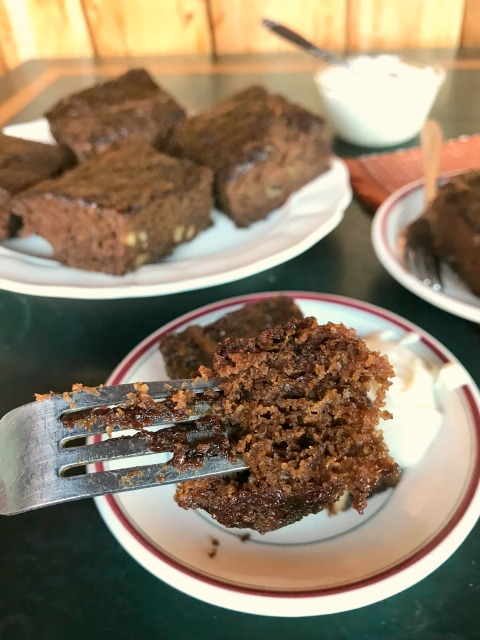 This lightly spiced maple molasses zucchini cake is moist and not too heavy. A great recipe if you're feeding a crowd.