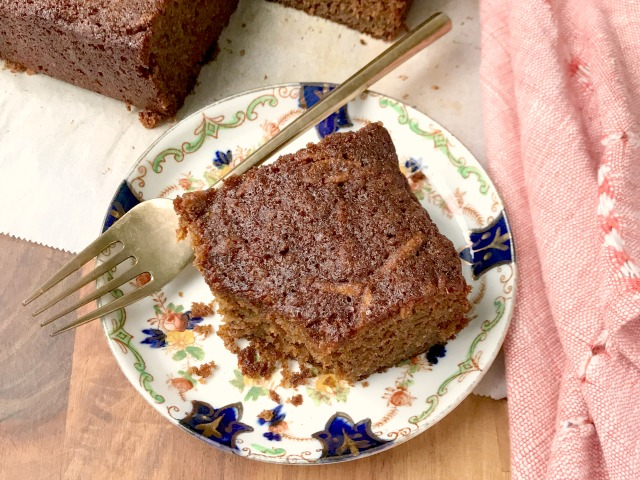 This whole wheat apple snack cake is like a muffin, only easier. Made with 100% whole wheat flour, a full three cups of apple, and sweetened naturally with honey and molasses, this cake is about as wholesome as they get.