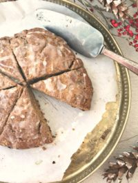 Gingerbread scones with vanilla glaze are delicious and quick to mix up.
