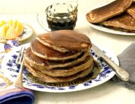 Gingerbread pancakes are a delicious alternative to your regular fluffy white pancakes. You'll love the added flavour from the spices and molasses. Whole wheat flour makes them hearty and filling.