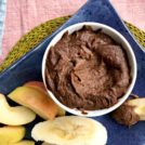 Healthy chocolate dessert hummus is a tasty treat that's filled with all sorts of wholesome ingredients. It's a good source of fibre, folate, iron and more. Refined sugar free.