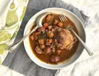 Hearty Guinness stew is late winter comfort food at it's best. Filled with root vegetables and loaded with flavour this warming meal is delicious and satisfying. Ready in an hour.