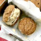 Ginger cookie Ice Cream Sandwiches start with spicy ginger crinkle cookies. Sandwiched in the middle is a ginger molasses toffee crunch ice cream. The result is the best ice cream sandwich of my life.