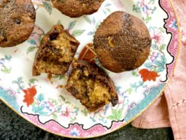 Butter tart muffins have that characteristic caramel flavour we love in true butter tarts, with lots of raisins and walnuts. This is a sweet muffin, but not as sweet as the real deal.