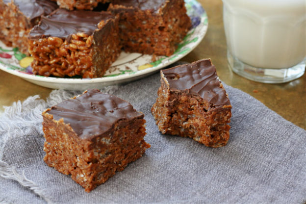 Peanut butter rice krispie squares are quick and easy. Made with pantry staples and ready in a flash