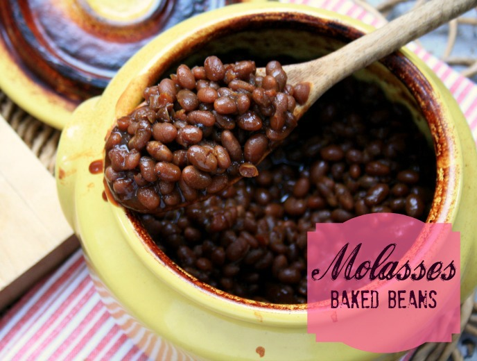 Molasses baked beans with loads of flavour.