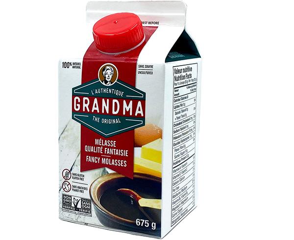 Crosby's Grandma brand molasses package
