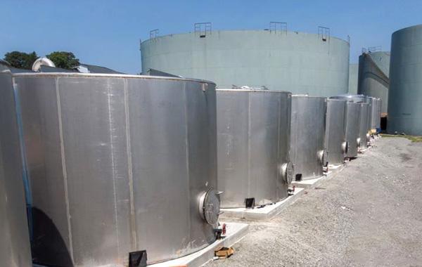 closeup of bulk storage containers